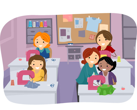 sewing: Stickman Illustration of Girls in a Sewing Class
