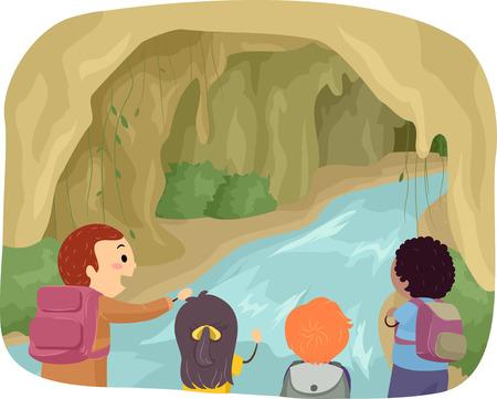 exploring: Stickman Illustration of Kids Exploring a Cave Stock Photo