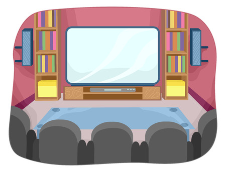 televisions: Illustration Featuring the Interior of a Home Theater