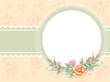 frilly: Illustration Featuring an Oval Frame Decorated with Flowers