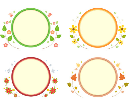 marcos decorados: Board Illustration Featuring Circular Frames Decorated with Flowers