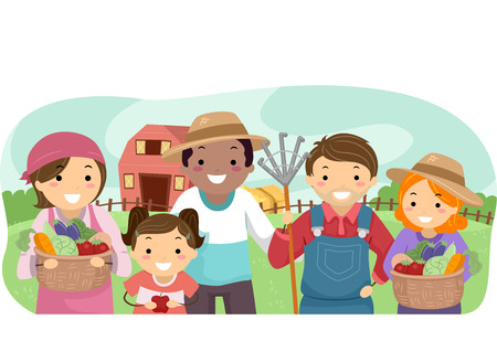 rural community: Stickman Illustration of Farmers Showing Their Produce