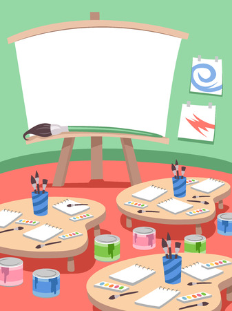 learning materials: Illustration Featuring a Classroom Used for Painting Lessons Stock Photo