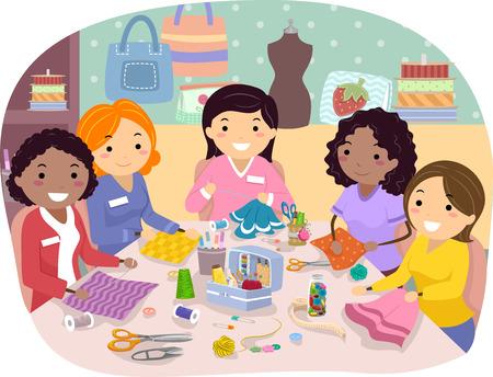 Stickman Illustration of a Sewing Club Gathering