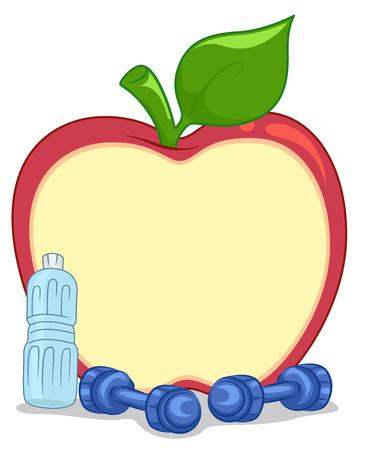 pesas: Ilustración con una junta en forma de manzana colocada al lado de Pesas