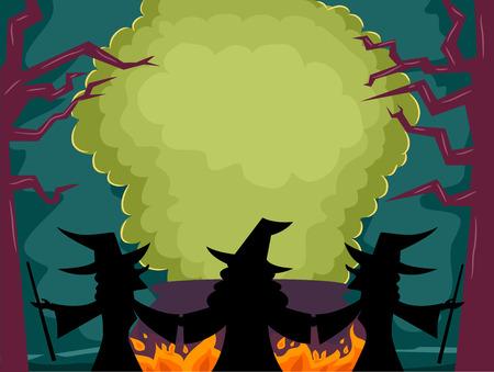pocima: Ilustraci�n de marco con las brujas Realizaci�n de una poci�n