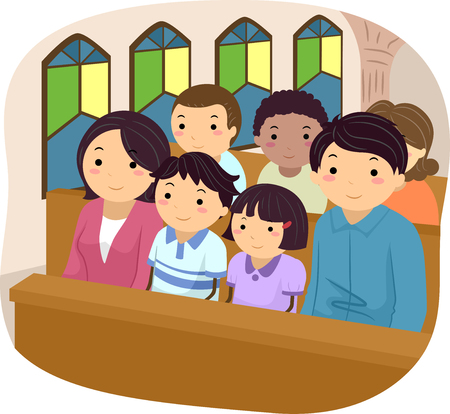 familia en la iglesia: Ilustración stickman de una familia de asistir a misa juntos