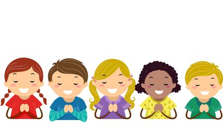 子供たちの祈りのバッター イラスト 写真素材