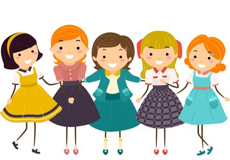 frilly: Stickman Illustration of Little Girls Wearing Vintage Clothing