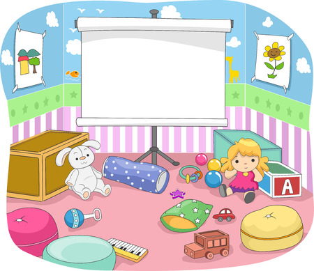 nursery room: Illustration of a Nursery Room with a Projection Screen at the Center