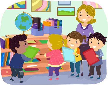 homework: Stickman Illustration of Kids Submitting Their Homework Stock Photo
