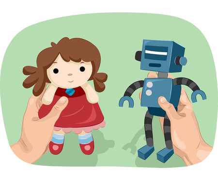 gender identity: Illustration of a Man Showing a Robot in One Hand and a Doll in the Other