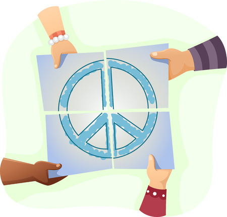 solving: Illustration of Kids Solving a Jigsaw Puzzle with the Peace Sign Printed on It