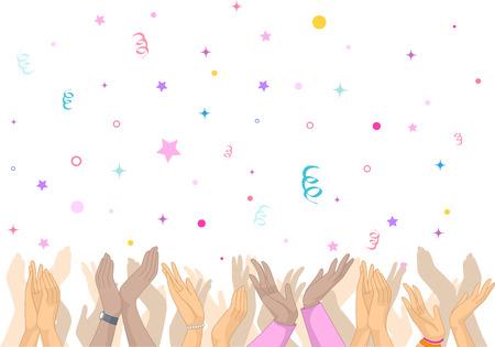 Illustratie die een Dolblij Crowd klappen als Confetti Regen op Them Stockfoto