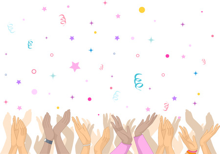 jubilant: Illustration Featuring an Overjoyed Crowd Clapping as Confetti Rain on Them