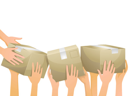 volunteers: Illustration of Volunteers Carrying Donation Boxes