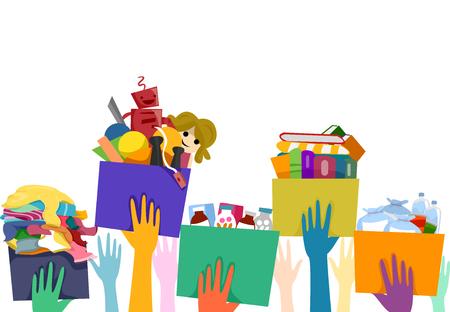 generosity: Ilustración de las personas que llevan cajas de donación Lleno de bienes usados