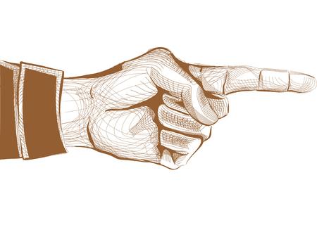 dedo indice: Ilustración de una mano con el dedo índice apuntando hacia los lados Foto de archivo