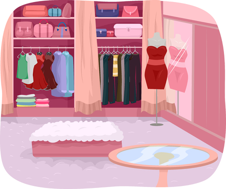 dressing room: Illustration Featuring the Interior of a Closet