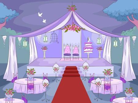 結婚式の会場を備えたイラスト 写真素材 - 56857269