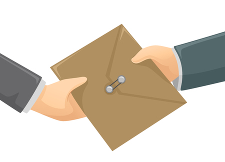 changing: Illustration of an Envelope Changing Hands Stock Photo