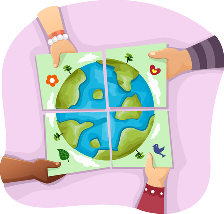 Illustration of Kids Solving an Earth Related Jigsaw Puzzle