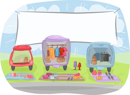 bargains: Illustration of  Cars Loaded with Goods for Sale