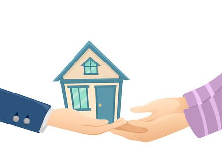 Illustration eines Verkäufers Drehen Sie ein Haus über dem Käufer Standard-Bild