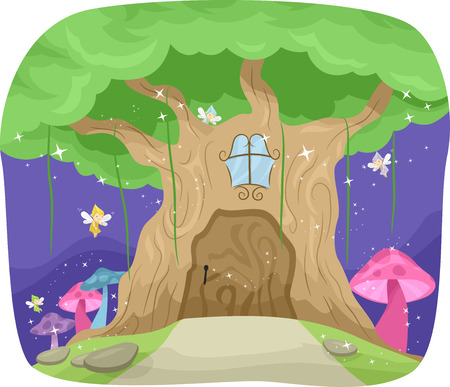 forest clipart: Whimsical Illustration Featuring a Fairy Tree