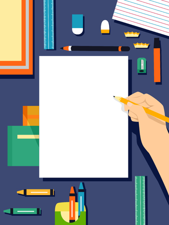 colour pencils: Flat Illustration Featuring a Collection of Art Supplies Stock Photo