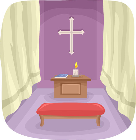 bible altar: Illustration Featuring a Simple Prayer Room