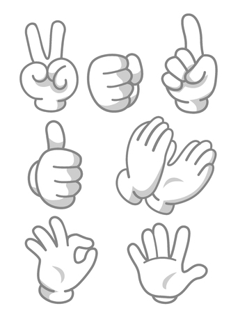 stop gesture: Mascot Illustration Featuring Different Hand Gestures