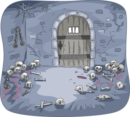 dingy: Illustration of the Interior of a Dingy Dungeon