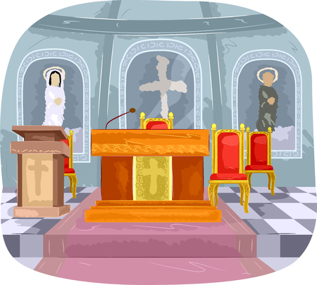 church service: Illustration Featuring the Interior of a Church