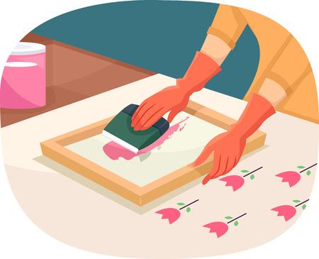 screen printing: Illustration of a Woman Printing Using a Silk Screen