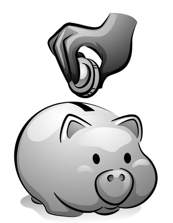 thrift: Illustration of a Man Dropping a Coin in a Piggy Bank