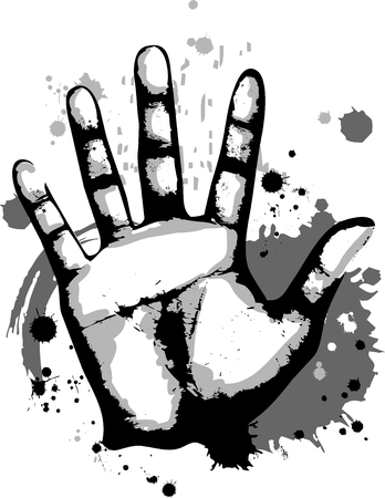 splotchy: Grungy Illustration Featuring a Hand Print Stock Photo