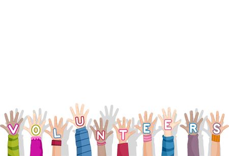 generosidad: Ilustración de los jóvenes voluntarios con los brazos levantados