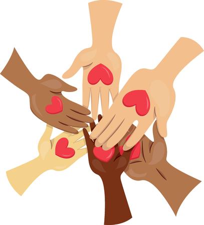 generosity: Ilustración de la gente que une las manos por una causa Foto de archivo
