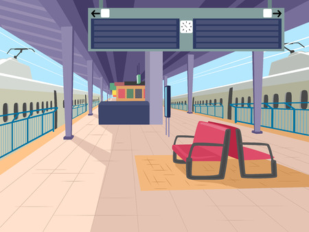 railroad station: Illustration Featuring an Empty Train Station