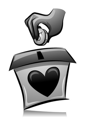 coin box: Illustration of a Man Dropping a Coin in a Donation Box