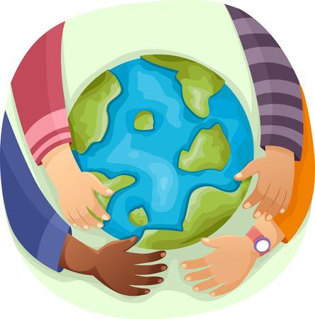 Illustration of Kids Hugging a Globe