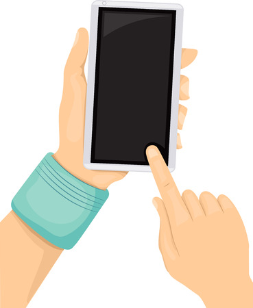 instant messaging: Illustration of a Teen Using His Mobile Phone Stock Photo