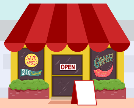 announcing: Illustration of a Store Announcing a Sale