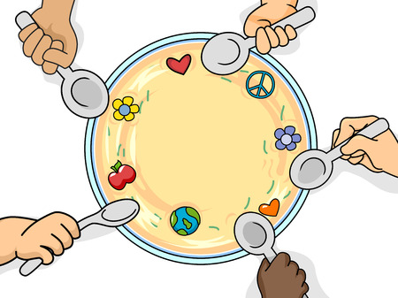 give: Illustration of Kids Sharing a Bowl of Food