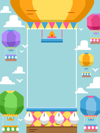 air show: Frame Illustration Featuring Hot Air Balloons Stock Photo