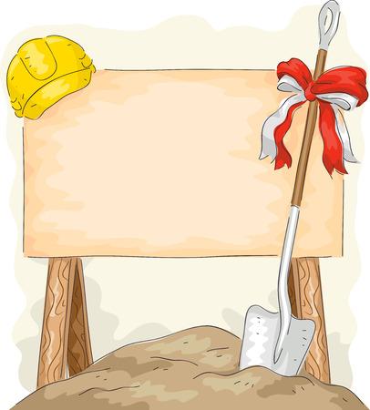 工事看板の横に配置さシャベルのイラスト