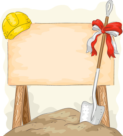 groundbreaking: Illustration of a Shovel Placed Beside a Construction Sign