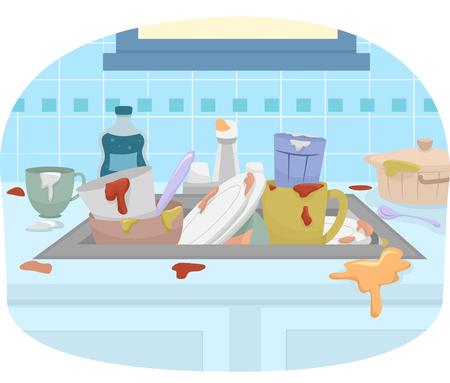 piatto: Illustrazione con un lavandino pieno di piatti sporchi Archivio Fotografico
