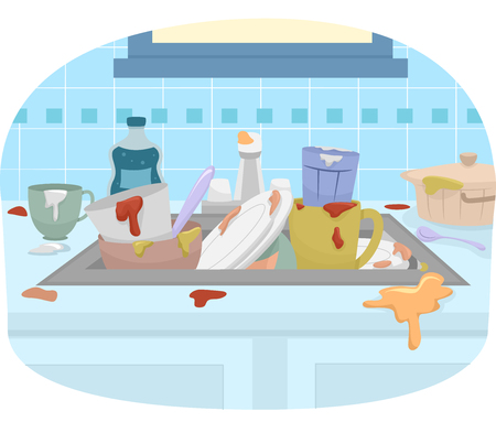Illustration Featuring a Sink Full of Dirty Dishes Stock Photo